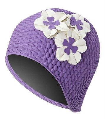 Vintage Style Purple Swim Bathing Cap Floral Bubble with Ivory Flowers Adult New