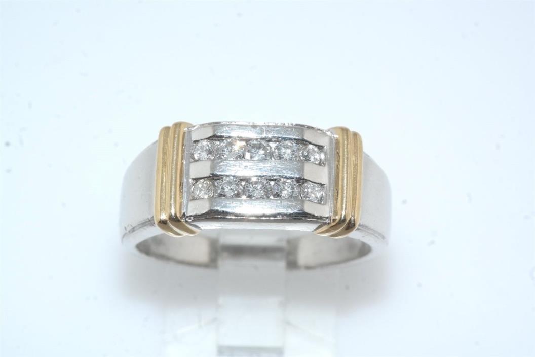 Gents Platinum & 18k Yellow Gold Diamond Channel Band Ring sz 10