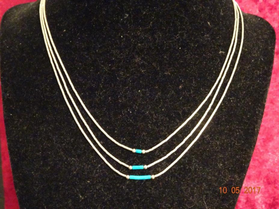 3 Strands Liquid Sterling Silver Necklace with Turquoise Beads - 16