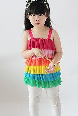 Girls Kids Rainbow Ruffle Layered Tulle Veil Dress Tutu Clothing Dress