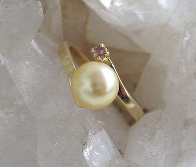 Yellow Pearl Solitaire Ring Pink Tourmaline 14k Yellow Gold Bypass Band Vintage
