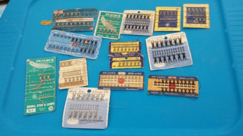 Vintage Lot Sewing Snaps Fasteners Hooks, Eyes and Loops On Cards Button Covers