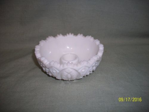 Vintage Cut Milk Glass Single Candlestick Holder