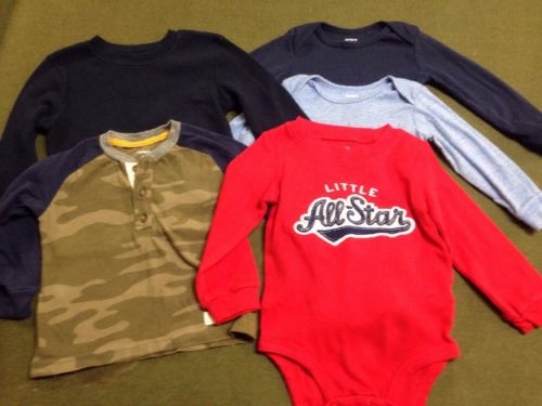 Lot 5 Infant Baby Boy Long Sleeve Shirts Tops 18 Months Carter's Gar animal