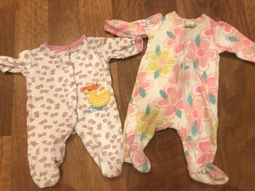 Lot Of 2 Baby Girl Size 0-3 Months Footed Long Sleeve Sleepers bon bebe Granimal