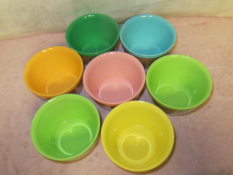 7 Vintage Raffiaware Burlap Plastic 12-oz Cereal Bowls