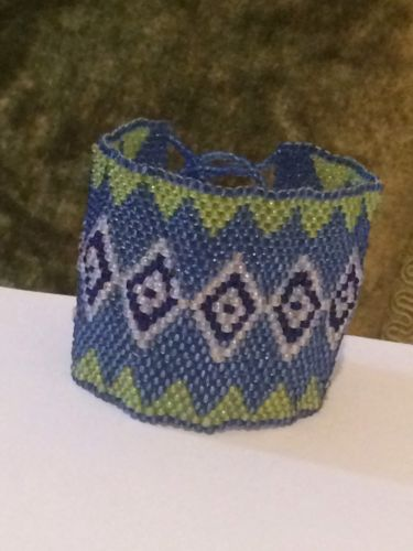 Native American Themed Blue Green White Diamond Peyote Stitch Bracelet #D6