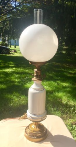 Antique GWTW Hurricane Globe Parlor Porcelain Gold Inlay Milk Glass Lamp Shade