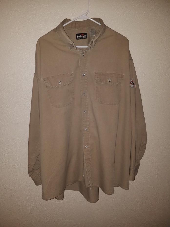 Bulwark FR Flame Resistant Tan Shirt Men's Size XXL Used