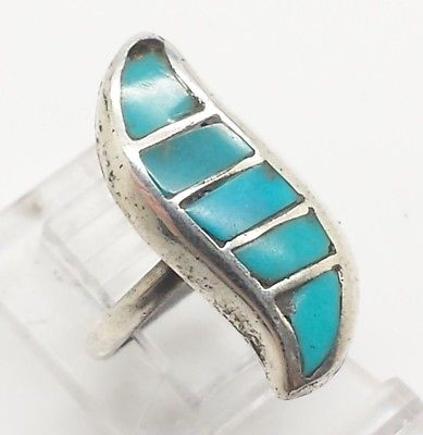 Navajo Curved Turquoise Design Sterling Silver 925 Ring 4g Sz.4 Y2235