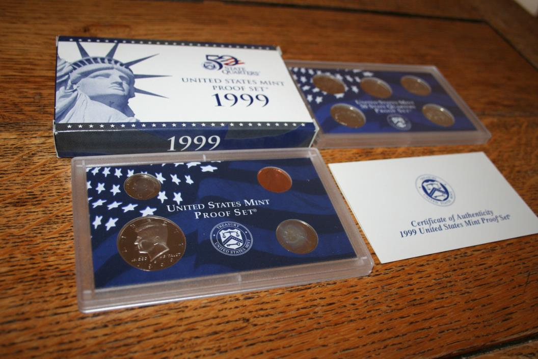 1999,US Coin Proof Set,Kennedy Half Dollar,State Quarters,9 Coin,Free Ship,01762