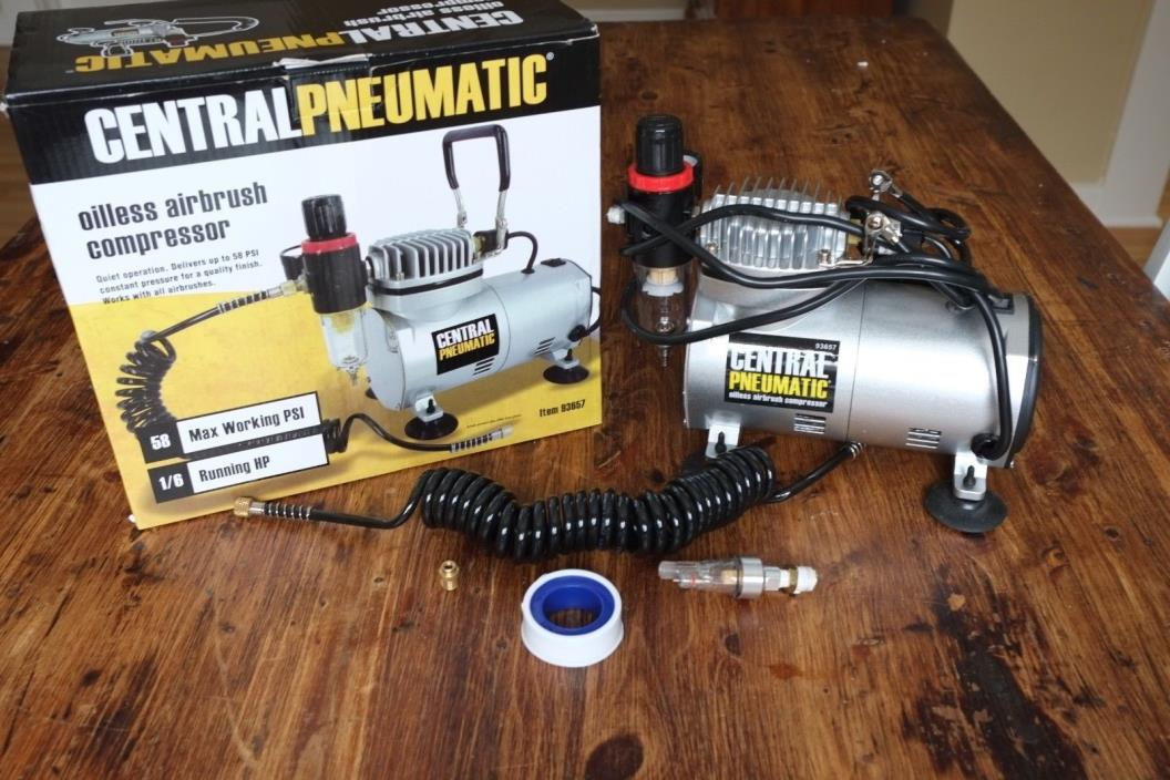Central Pneumatic Airbrush Compressor 1/6 HP Oilless 58 PSI #93657