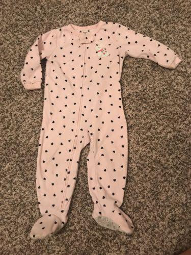 Carters 18 Month Girl Fleece Pajamas Footed Pjs Long Sleeve Heart Bunny Pink