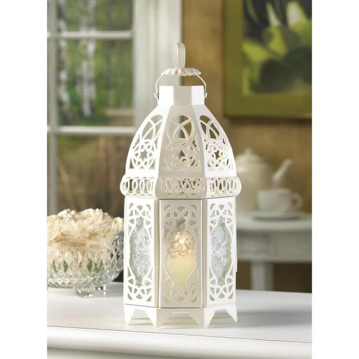 8-White Lattice Wedding Lanterns
