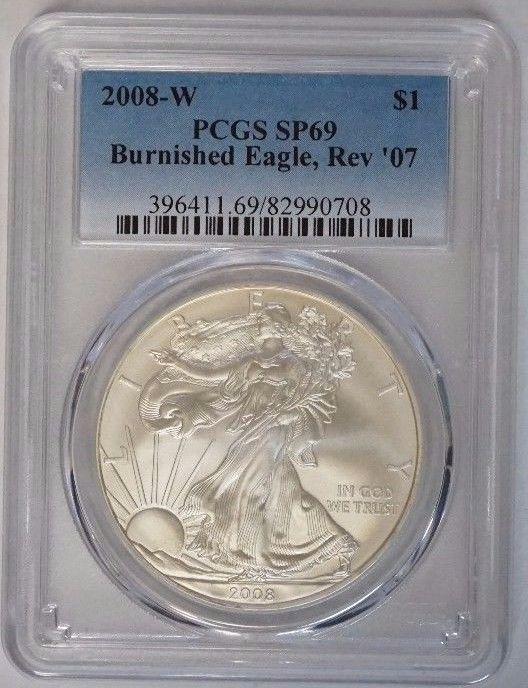 2008 W Reverse 2007 $1 Silver Eagle PCGS SP69 (MS69)