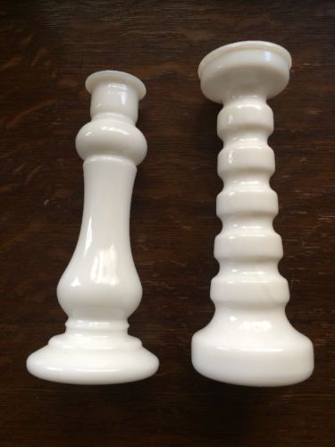 PAIR OF VINTAGE E.O.BRODY CO. & ANCHOR WHITE MILK GLASS BUD VASE CANDLE HOLDERS