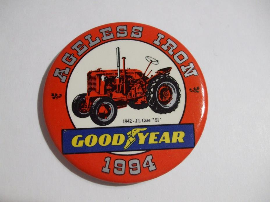Ageless Iron 1942 J.I. Case SI Tractor Pinback Button, Goodyear Tires 1994