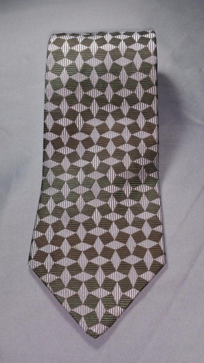 Peter Thomas 100% Silk Men's Tie Geometric Green Dress Necktie
