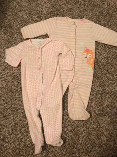 Carters Baby Girl 9 Month Footed Pajamas Pjs Lot Terry Cloth Fleece Pink Floral