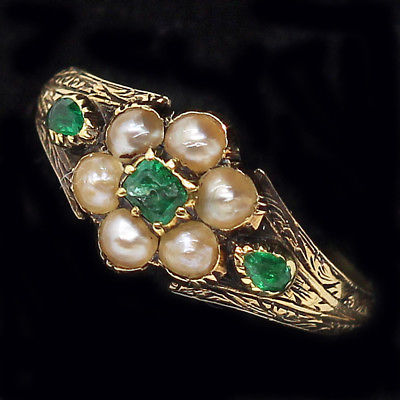 Antique Late Georgian Ring 14k Gold Emeralds Seed Pearls English (#6302)