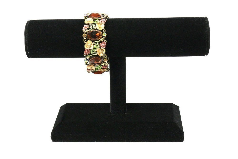 Bejeweled DisplayHigh Quality Wood One Tier Bracelet Bangle T Bar (Black)
