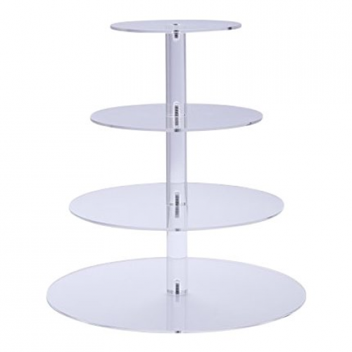 Spring Rose(TM) Gorgeous 4 Tier Round Acrylic Cup Cake Stand. Perfect For Weddin