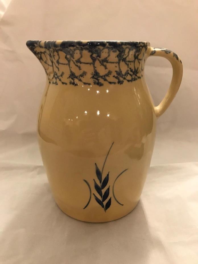 Robinson Ransbottom pottery2 quart  pitcher blue sponge and wheat design