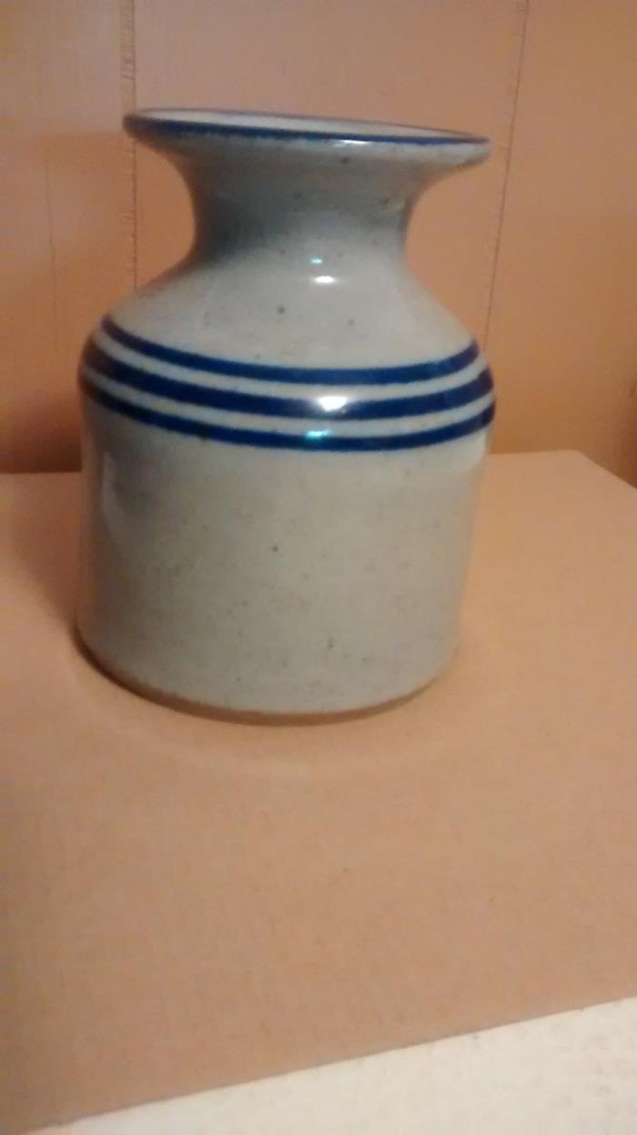 Gray Crock Stoneware Vase Blue Stripes Trim
