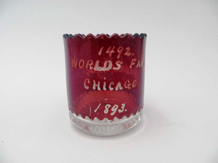ANTIQUE WORLDS FAIR CHICAGO 1893 RED GLASS TOOTHPICK HOLDER LN 79
