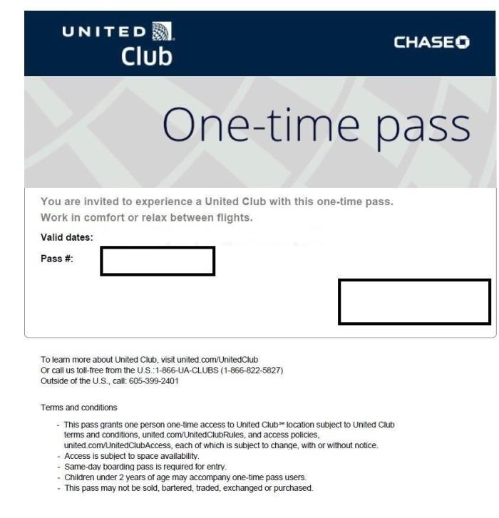 2 (two) One-Time Passes for UNITED CLUB - EXP 12/21/2018  e-delivery