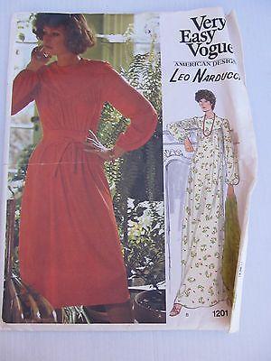 VINTAGE 60's 70's VOGUE AMERICAN DESIGNER LEO NARDUCCI DRESS PATTERN #1201 SZ 14