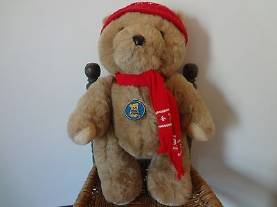 Vintage Dakin brown bear red hat and scarf Christmas stuffed plush 1986 15