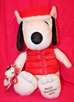 Exclusive MACYS Holiday 2015 Peanuts SNOOPY Plush Doll Toy + Bonus Sis Belle NWT