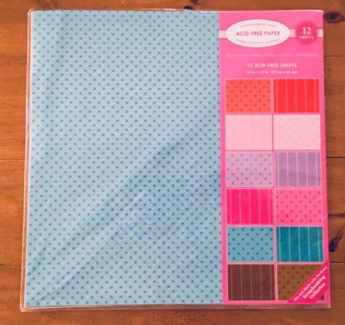12x12 Scrapbook Paper Lot 12 Acid-Free Sheets Valentines