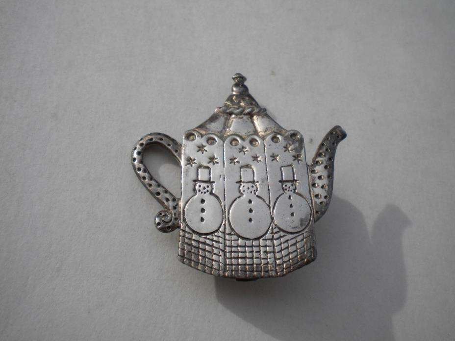 Mary Engelbreit ME INK Sterling Silver Teapot Brooch
