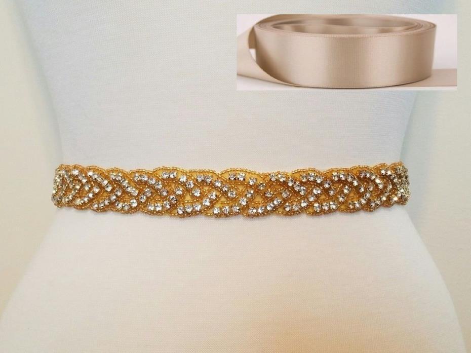 Wedding Bridal Sash Belt, GOLD CLEAR RHINESTONE Sash Belt = TAUPE SATIN SASH