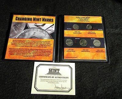 Changing Mint Marks Roosevelt Dime & Jefferson Nickel Set 5 Coin Set