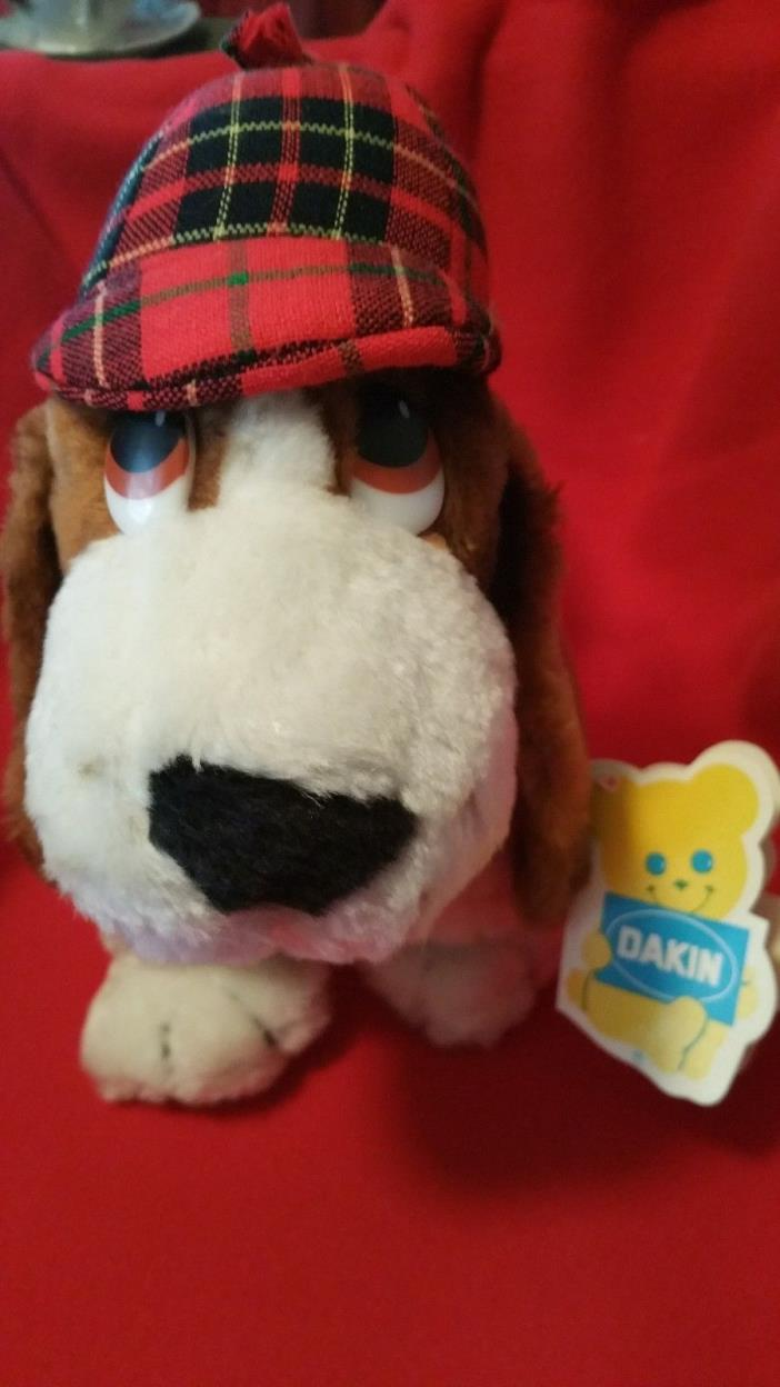 VINTAGE P. I. BASSET PLUSH DOG 1983 DAKIN NATURE BABIES #31-0254 Still has TAGS