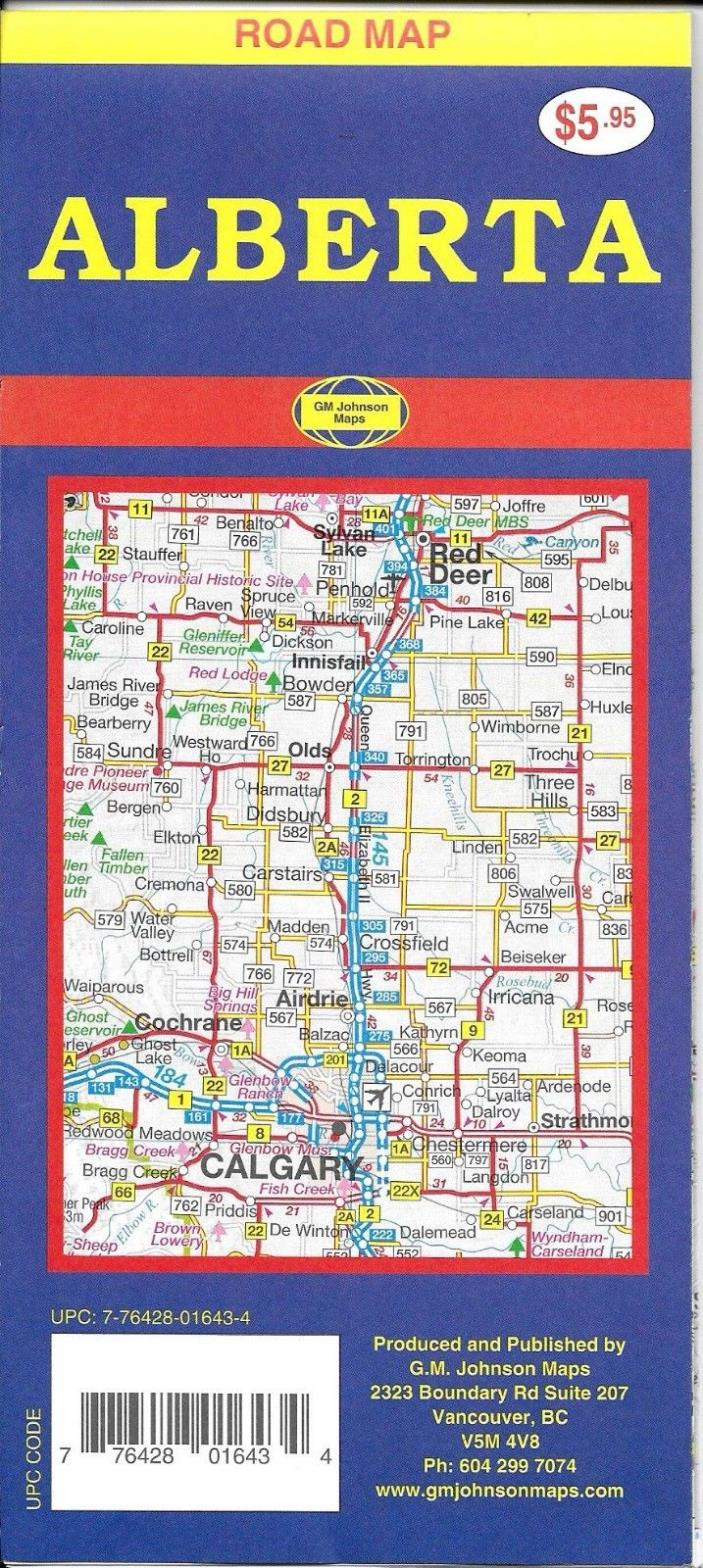 Road Map of Alberta, Canada, by GMJ Maps