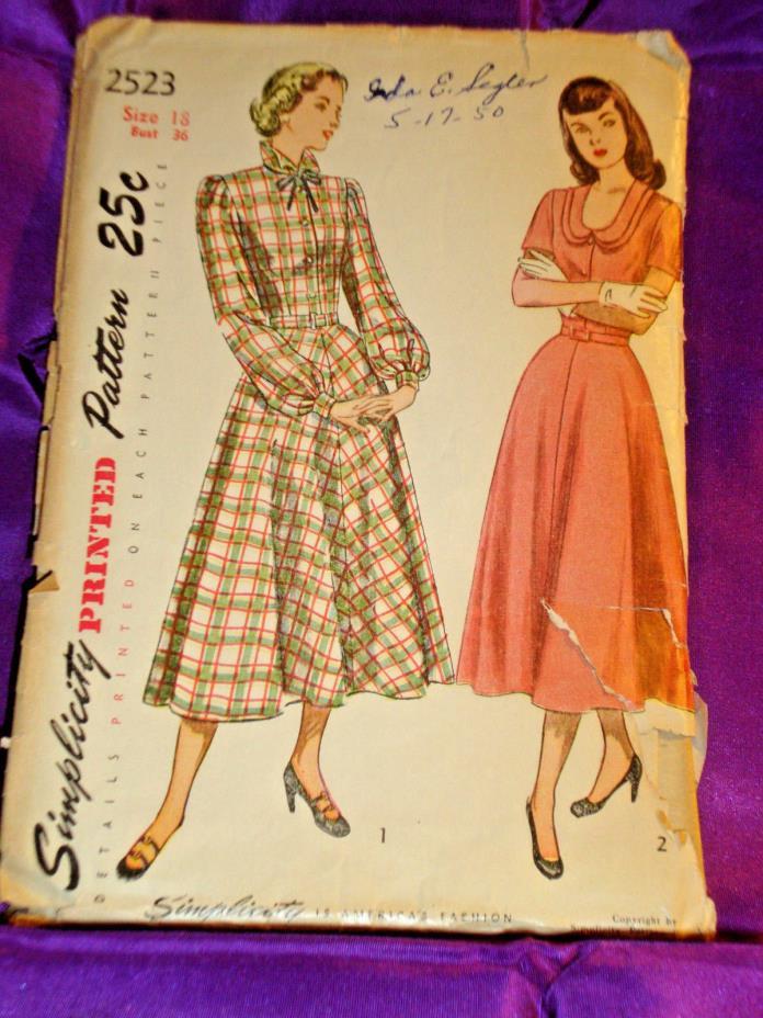 40s Dress High or U Neck Flared Skirt Short or Lng Slv CMPLT Simplicity 2523 B36