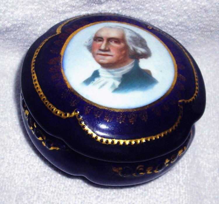 Ant - Kroneadler Made In Germany George Washington Cobalt Portrait Trinket Box