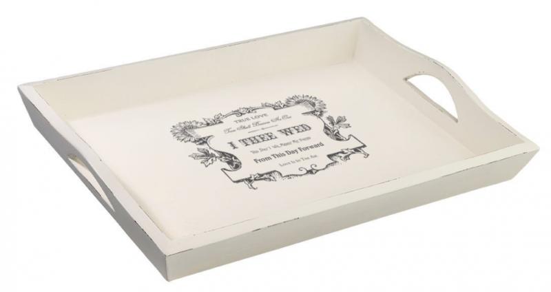 Lillian Rose Antique White Wedding Breakfast Tray True Love