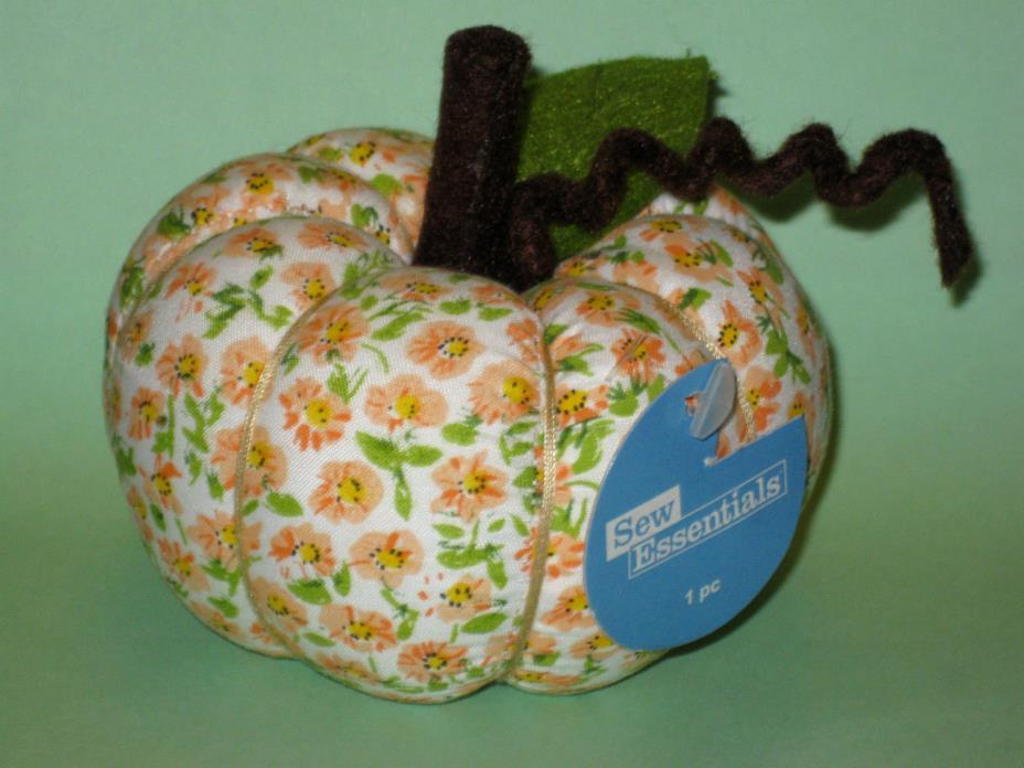 Pumpkin Shape Pin Cushion Keepsake gift fall floral fabric sew autumn collect