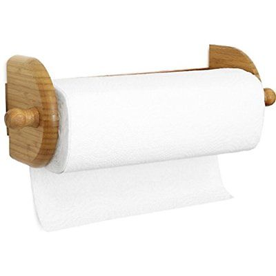 Wood Paper Towel Roll Holder Kitchen For Wall Under Cabinet Free Strong Mou