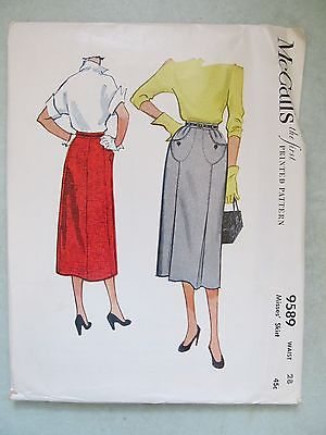 VINTAGE 1950's 1953 MCCALL PATTERN 9589 PLEATED PENCIL SKIRT WAIST 28