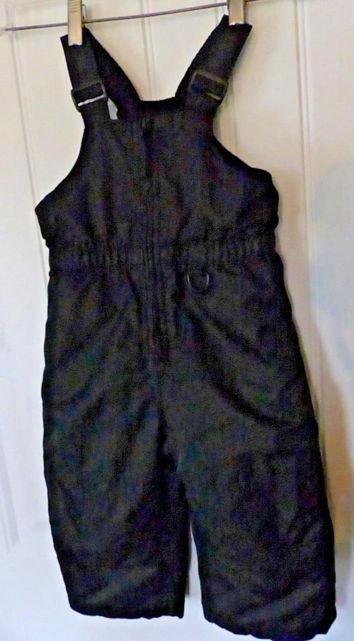Black Bib Overall Snow Pants Toddler 2 Sz 2T Adjustable Straps Insulated