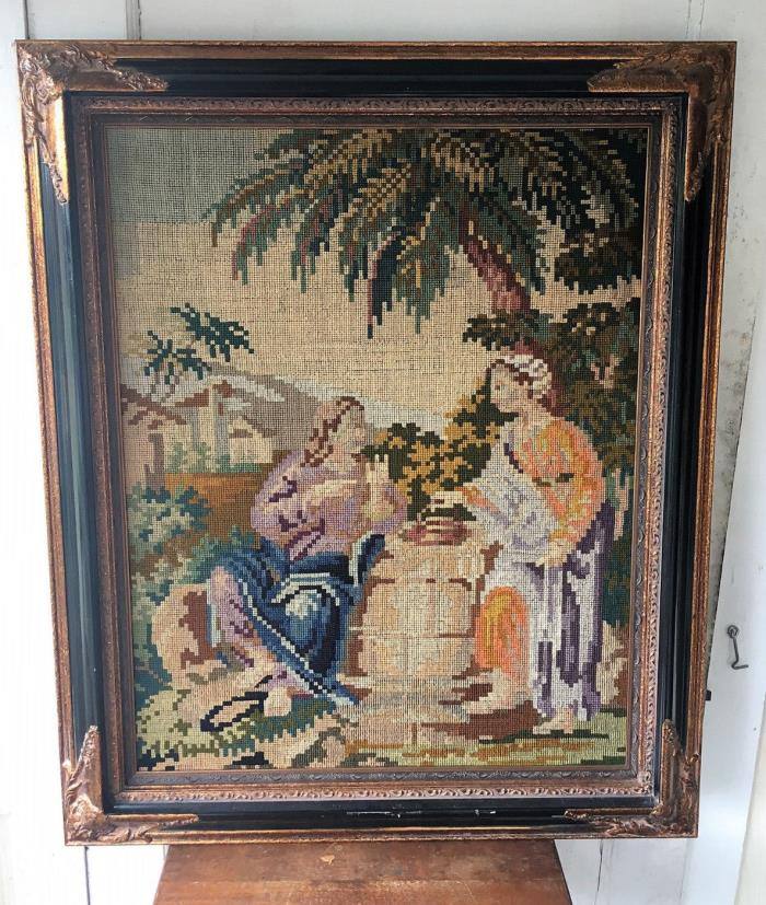 Antique Framed Tapestry Needlepoint Biblical -Samaritan Woman,Jesus at the Well