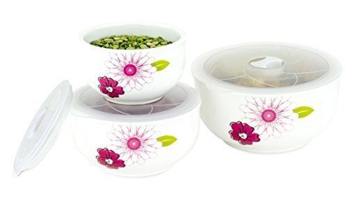 6 Pc Ceramic Bowls Set - Food Storage Containers with Vented Lids NEW With BOX!!