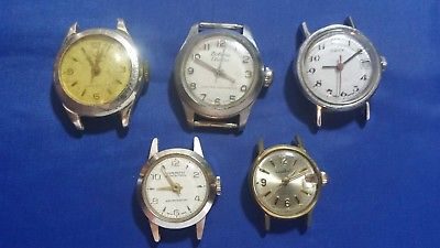 LOT OF 5 MECHANICAL WOMEN'S USED WRISTWATCHES for parts