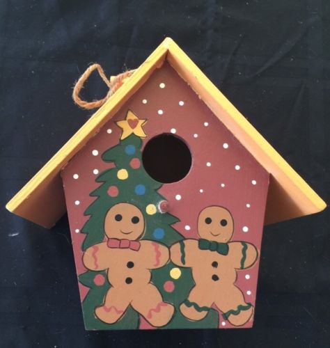 xmas Bird house Wooden Hanging Gingerbread Men Tree Feeder Outdoor decoration